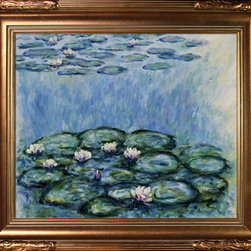"overstockArt.com - Monet - Water Lilies (Blue/Grey) Oil Painting - 20"" x 24"" Oil Painting On Canvas Easily recognizable, Water Lilies by Claude Monet has been carefully redone to near perfection with color and brush stroke detailing. The Water Lilies painting is actually a series of 250 oil paintings by Monet. They depict Monet's garden in Giverny and were the main subjects of his paintings later in his career. Monet, a French Impressionist, was born in Paris is 1840, and pursued his passion for painting from the start befriending fellow Impressionist artists. The outdoors clearly inspired Monet to take most of his subject matter from nature's beauty. His use of realistic colors and attention to detail still inspire painters today. This beautifully reproduced painting will work in many rooms in your home. Order it today and start your own collection of Monet masterpieces."