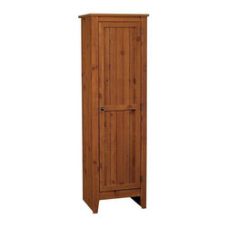 Ameriwood - Ameriwood Single Door Kitchen Pantry in Old Fashion Pine - Ameriwood - Pantry - 7303028 - Gain extra storage in the kitchen dining room or other spaces with this beautiful storage pantry from Ameriwood. The Ameriwood Single Door Storage Pantry Cabinet is just 18 inches wide making it a great fit in smaller rooms or in any home that needs some extra space for kitchen essentials. Inside the cabinet four shelves offer room for all your pantry items cereals canned goods and snacks. You can also use the storage pantry to hold dinnerware mugs glasses and other serveware. Three of the shelves are adjustable allowing you to configure the cabinet to fit the size of your items. The Single Door Pantry is finished in Ameriwood's Old Fashioned Pine finish giving it a warm rustic look that goes great in any decor. A decorative pewter knob on the cabinet door adds to the antique styling. Easy to assemble with household tools. Made in USA.