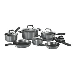 T-Fal - T-Fal Anodized 12-piece Cookware Set - Saute some onions,fry a batch of chicken,or make a creamy pot of homemade soup with this non-stick 12-piece cookware set. Lids are included for mess-free rice preparation,and the pots and pans come with smooth handles for an easy grip.
