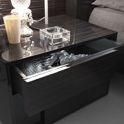 Rossetto Furniture - Nightfly Ebony Left 2 Drawer Night Stand - T412500010003 - Nightfly Collection Nightstand