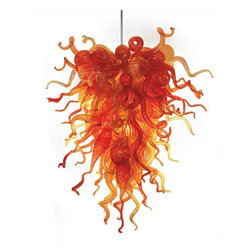 Belle Meade Hot Glass - Ember Glow Chandelier - This brilliant chandelier is shown in colors of Lava Red, Transparent Yellow and Transparent Orange, reminiscent of a tropical sunset or fiery lava flow. The individually hand blown glass pieces are a mixture of shapes found in nature: Pods, Horns and Gourds (see additional photo #2). Note- This is a representational item that can be commissioned. These designs are very diverse and can be custom made to fit any project. Other colors, sizes, and shapes are available so please call for more details. Allow us to help turn your vision into a reality. Note- This chandelier is lit from within the armature by 4 easily replaceable 75 watt halogen bayonet bulbs. The lighting system is made from UL listed parts. The armature is shaped appropriate to the chandelier. Note- These chandeliers are suspended by a thin, high strength cable, the length of which must be specified when ordering. The weight for these chandeliers averages 30 pounds per 50 pieces. Due to the many different styles and types available, a ceiling canopy is not provided but can easily be obtained through your electrician. Note- If this item will be viewed from above, such as in a stairwell, the top will need additional pieces covering the armature at additional cost. Please call us for a price quote and specify this when ordering.  LED and Compact Fluorescent lighting are both available. Call for details.      Please note that the price listed pertains to a fixture that will appear very similar to the light shown in the featured photograph and as outlined in the accompanying description.  Virtually all of our artisan crafted fixtures can be customized regarding size, shape, and / or color(s).  Please call for details.