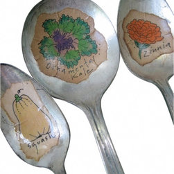 Fall harvest spoon marker - A fall harvest. A set of three vintage silverplate garden marker spoons. Kale. Zinnia. Squash. You can plunk in the soil or put in a small vase or jar for an everlasting fall bouquet.  The drawings are done by hand--by me--using archival ink, hand-colored, and sealed with a moisture and UV-resistant finish.