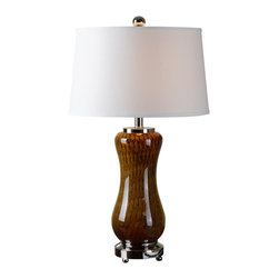 Uttermost - Uttermost Carapellotto Grown Glass Table Lamp - Carapellotto Grown Glass Table Lamp by Uttermost Rust Brown Glass With Black Veining Accented With Polished Nickel Plated Details. The Slightly Tapered Round Hardback Shade Is A White Linen Fabric.