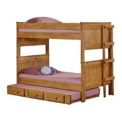 Chelsea Home - Twin Over Twin Stackable Bunk Bed - NOTE: ivgStores DOES NOT offer assembly on loft beds or bunk beds.. Includes slat packs and trundle. Mattresses not included. Rustic style. Wooden ladder. Metal brackets are used to connect the rails to the headboard and footboard. Rails include a 1.25 in. cleat which is glued and screwed to the rail for extra strength to support the mattress foundation. Exceed all safety standards of the consumer product safety commission. Constructed for strength and durability. Can hold up to 400 lbs. of distributed weight. Warranty: One year. Made from solid pine wood. Ginger stain finish. Made in USA. Assembly required. Distance between top and bottom bunk: 35 in.. 78 in. L x 42 in. W x 63 in. H (235 lbs.). Bunk Bed Warning. Please read before purchase.Warning: Falling hazard, bunk beds should be used by children 6 years of age and older!