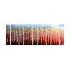 Pure Art - Ardent Romance Abstract Wall Art Set of 9 - Passionate flames erupt from a bare forest and light up a dawning skyline.Made with top grade aluminum material and handcrafted with the use of special colors, it is a very appealing piece that sticks out with its genuine glow. Easy to hang and clean.