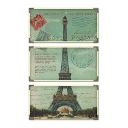 Uttermost - Uttermost 40917 Eiffel Tower Carte Postale Set of 3 Wall Art - Uttermost 40917 Eiffel Tower Carte Postale Set of 3 Wall ArtThe prints are laminated to wood boards. Each board has antique brass corner accents and decorative screws. Each panel is 12x23.Features: