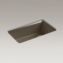 """KOHLER - KOHLER Riverby(R) 33"""" x 22"""" x 9-5/8"""" under-mount single-bowl kitchen sink with a - The understated beauty of this Riverby sink makes it an elegant and versatile addition to the kitchen. A single, large bowl provides ample space to soak and wash cookware, while a sloped base to a single offset drain minimizes water pooling. Crafted from"""