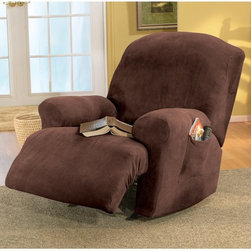 Sure Fit - Sure Fit Stretch Pique Recliner Slipcover - 29792 - Shop for Chair and Slip Covers from Hayneedle.com! The Stretch cover is a one-piece cover made from a soft poly/cotton blend and spandex material. Its stretching qualities offer a clean tailored look for both box and T-cushion style furniture. It features an adjustable arm width and inner pleats to minimize tucking. About Sure FitSurefit Inc. is widely known for its attractive quality furniture covers slipcovers and decorative accessories. The success of their ready-made furniture slipcovers and accessories is based on extensive experience providing cost-effective decorative solutions made to fit in a broad range of styles to meet the needs of all customers. Sure Fit's furniture slipcover product line includes slipcovers for sofas loveseats chairs oversized chairs wing chairs dining room chairs recliners ottomans and folding chairs as well as furniture and pet throws. Sure Fit also sells coordinating decorative pillows. Sure Fit is dedicated to quality product with rigorous durability and performance standards that are second to none. Many patterns feature dual-action Scotchgard Protector to repel and release stains. Home of the Ten Minute Makeover Sure Fit provides an attractive and affordable solution for consumers who need to protect furniture from children pets and general wear or want to quickly and cost-effectively upgrade their furniture and enhance the appearance of any room. Please note this product does not ship to Pennsylvania.