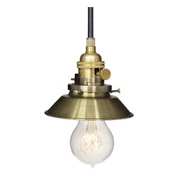 """Hammers & Heels - Farmhouse 4 & 3/4"""" Cone Shade Pendant Light- Brass - The Farmhouse Collection is petite with a punch of style these metal cone shade pendant lights add a vintage feel to any space."""
