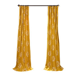 Exclusive Fabrics & Furnishings, LLC - Isles Mustard Printed Cotton Curtain - Room with a view. These romantic drapes can change your perspective on your windows and the surrounding decor. And while you may love the subtle design and graceful flow of this fabric, it also helps to know that these drapes are lined, ready to block the harsh light of day if desired.