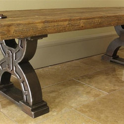 International Caravan - Large Picnic Bench - Striking, timeless double-horseshoe leg style. Made from wood veneer and MDF. Assembly required. 59.5 in. L x 18 in. W x 19 in. H (39 lbs.)Add touch of the timeless to your indoor furnishings with the Rustic Forge large picnic bench.