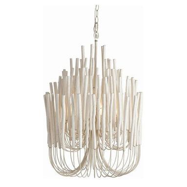 Tilda Chandelier by Arteriors Home - Tila 5-light Chandelier features five tiers of wooden sticks on curved iron arms in a Whitewash finish. Five 25 watt 120 volt B10 candelabra base incandescent lamps not included. 21 inch diameter x 30 inches high.