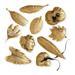 Kathy Kuo Home - Esther Large Brass Foliage Decorative Dishes - Set of 10 - Celebrate fall's bounty with this set of 10 decorative dishes. Food safe and presented in a variety of shapes and sizes, you can use them to hold everything from nuts, olives and cubes of cheese to dinner truffles and petits fours. Made of brass, they add a warm, burnished luster wherever they're set — you can even use them as catchalls around the house.