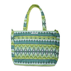Ju Ju Be - Ju Ju Be Super Be Diaper Bag - Sea Glass - 12FF02A-SGL - Shop for Diaper and Bottle Bags from Hayneedle.com! Whether you're going on a day trip or somewhere overnight the Ju Ju Be Super Be Diaper Bag - Sea Glass has enough room for everything. This extra-large tote features 12-inch straps for comfortable carrying of everything you could possibly need for a trip to the store the park or even the beach. It's big enough not only for diapers but toys books towels and your own personal electronics. The Super Be includes two interior mesh pockets and one extra-long zippered pouch a convenient key clip so you don't have to stand around digging for your keys three exterior pockets in the front and a large back pocket with snap closure. The outside is made from Teflon protected fabric in your choice of stylish pattern that will never stain and the light-colored lining features AgION natural antimicrobial treatment to reduce odor and fight mold mildew germs fungus and bacteria. The Ju Ju Be Super Be Diaper Bag measures 18W x 5.5D x 15H inches and is 100% machine washable. Additional Features Tote straps have a 12-inch drop Zippered closure keeps everything secure 2 interior mesh pockets 1 extra long interior zippered pockets Extra long key clip inside of the tote 3 exterior pockets on the front Large back pocket is perfect for folders and papers Teflon exterior means stains don't stick Lining kills germs mold mildew fungus and bacteria Sea glass design Machine washable and air dry for your convenience About Ju-Ju-BeJu-Ju-Be was started by the dynamic duo of diaper bags. Why did they start up a whole new brand? Because despite the great fashion (and even some great features) of the other brands there were still some things lacking. No one had put to use the latest in technology. No one had successfully acted on the idea that fashion and function aren't mutually exclusive. No one else had delved into the deep realm of microbes and anti-stick coatings. Everyone else s