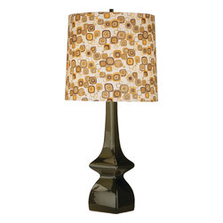 Robert Abbey - Jayne Table Lamp, Tobacco/Pumpkin - Punch up any room with just a hint of retro style in this playful lamp. The classic black base is the perfect balance to a patterned linen shade and keeps it from looking overly styled. It's a great piece for a bedside table or even an office desk.