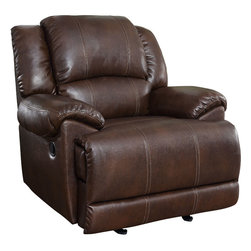 Coaster - Glider Recliner, Chestnut - This glider recliner is covered in a chestnut Bonded Leather Match with stylish brown baseball stitching.