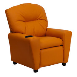 Flash Furniture - Contemporary Orange Vinyl Kids Recliner with Cup Holder - Kids will now be able to enjoy the comfort that adults experience with a comfortable recliner that was made just for them! This chair features a strong wood frame with soft foam and then enveloped in durable microfiber upholstery for your active child. Choose from an array of colors that will best suit your child's personality or bedroom. This petite sized recliner will not disappoint with the added cup holder feature in the armrest that is sure to make your child feel like a big kid!