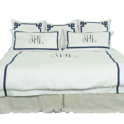 Chopstick + Fretwork Duvet Cover - The Chopstick monogram with the Fretwork border by Leontine Linens makes for the ultimate chinoiserie bed.