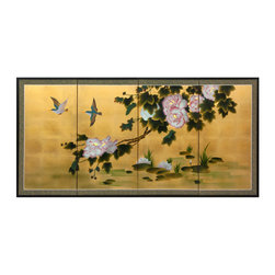 """Oriental Furniture - 36"""" Lilly Pad Pond on Gold Leaf - Two kingfishers and an extended blossoming branch overlook a lily pond in this breathtaking depiction of a transient moment in nature. Hand painted on silk with an authentic gold leaf background and trimmed with a silk brocade, this one of a kind piece will make a wonderful addition to your home."""