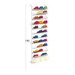 Lynk - 36 Pair OverDoor Shoe Rack in White - Adjusts to fit the thickness of any door. Permanently mounted to a door and wall. Locks together in seconds. Holds shoeboxes. Patented. Made from steel and polymer. Made in USA. 21 in. W x 7.4 in. D x 72 in. H (6 lbs.). Assembly InstructionLynk products offer great storage solutions for the kitchen, pantry, closet, laundry, bath and garage.