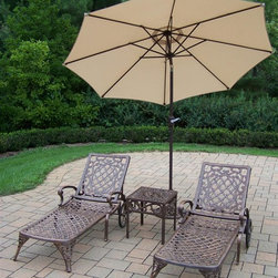 Oakland Living - 4-Pc Patio Chaise Lounge Set - Includes two chaise lounges, side table and 108 in. Dia. tilting umbrella with stand. Crisp and stylish traditional lattice pattern and scroll work. Lightweight. Metal hardware. Fade, chip and crack resistant. Warranty: One year limited. Made from rust-free cast aluminum. Antique bronze hardened powder coat finish. Minimal assembly required. Chaise Lounge: 71 in. L x 25.5 in. W x 35 in. H (68 lbs.). Side table: 17.5 in. W x 17.5 in. D x 19 in. H (15 lbs.)The Oakland Mississippi Collection combines southern style and modern designs giving you rich addition to any outdoor setting. This set will be beautiful addition to your patio, balcony or outdoor entertainment area. Our Chaise lounger sets are perfect for any small space or to accent larger space. We recommend that products be covered to protect them when not in use. To preserve the beauty and finish of the metal products, we recommend applying epoxy clear coat once a year. However, because of the nature of iron it will eventually rust when exposed to the elements.