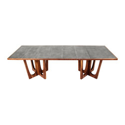 Pb-R Lolita Double Pedestal Dining Table - Materials: Walnut, Tung Oil, Zn-R (Zinc Encased in Resin)