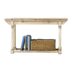 American Drew - American Drew Americana Home Flip Top Console Table in Weathered White - Americana Home is a casual lifestyle grouping with an eclectic mix of design elements, finishes, and materials. Crafted with Pin Knotty Oak veneers with hardwood solids. Americana Home creates an inviting and comfortable setting for any lifestyle and personality. The best elements of casual country, modern lodge, coastal cottage and urban loft living combine to bring a unique sense of timeless and comfortable places from all over the American andscape. Americana Home creates an inviting and comfortable setting for any lifestyle and personality. Design the perfect timeless escape in your own home.