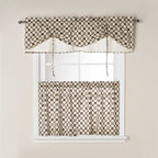 Anchor Sales & Marketing Inc. - Santa Rosa Window Curtain Tier Pairs - An all-over geometric pattern adorns these attractive window curtain tiers. Perfect for a kitchen, bathroom, laundry room or any room. The valance (sold separately) features a sliding, beaded cord to raise and lower the front part.