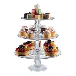 Ballard Designs - Set of 3 Stephanie Stacking Cake Plates - Stack all 3 sizes to create a cupcake tree. Try it as a pedestal for potted flowers and succulents. Dishwasher safe. Stack all three sizes of our Stephanie Cake Plate to create a spectacular tiered display of desserts or hors d'oeuvres. Also use them separately to create varying heights and drama on a buffet. Mouth blown glass with footed design dresses up or down for any occasion. Set of 3 Stephanie Stacking Cake Plates features:. . .