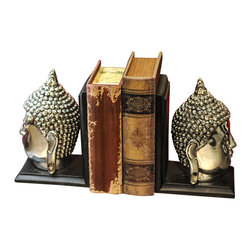 Winward Designs - Buddha Head Book Ends - This electroplated buddha book end is trending out of control! Featuring polished metal and wood work, this fancy piece of book end will look extravagant and trendy all year around.