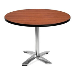 OFM - OFM 42 Round Flip-Top Multi-Purpose Table, Cherry - This 42 round table looks elegant in both lunch and meeting rooms and looks great with the model 310 stack chairs. The banding makes the edges smooth and gives it a finished appearance. The honeycomb core makes the table both lightweight and sturdy.