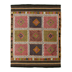 hand-woven village rug - Vintage Turkish Kilim   Cicim Flatweave - Kilims are perhaps best described as the folk art of Turkey. The symbols and motifs used in weaving kilims are common amongst most weavers, but each tribal or regional group has their own way of interpreting those symbols. While many kilims are woven today for the commercial market, the same is not true of older kilim pieces. Until about 1975, the rug world was just not interested in kilims. Times have certainly changed! Kilims have made their way into the decor of the world, from palaces in the French countryside to the mountains of Colorado.