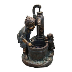 Alpine Fountains - Boy and Water Pump Fountain w LED Light - Made of Fiberglass and Resin. 1 Year Limited Warranty. Assembly Required. Overall Dimensions: 17 in. L x 12 in. W x 26 in. H (22.44 lbs)Add water to an environment and experience a sense of peace with any of these bronze finish fountains. A classic addition to any indoor/ outdoor retreat of your choice.
