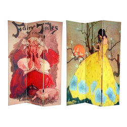 "Oriental Furniture - 6 ft. Tall Double Sided Fairy Tale Canvas Room Divider - Enchant your domicile with these captivating works of children's storybook art from the late 19th and early 20th centuries. On the front is an illustration by one of the most highly acclaimed book and poster artists of her time, Ethel Reed, for the cover of ""Fairy Tales"" penned by Mabel Fuller Blodgett in 1896. On the back is a breathtaking reproduction of Spring's Promise by Marjorie Miller, which depicts a young lady in a yellow dress with an unearthly orange moon and flowering tree in the background. These enchanting works of art are perfect for any living room, bedroom, dining room, children's room or kitchen. This three panel screen has different images on each side, as shown."