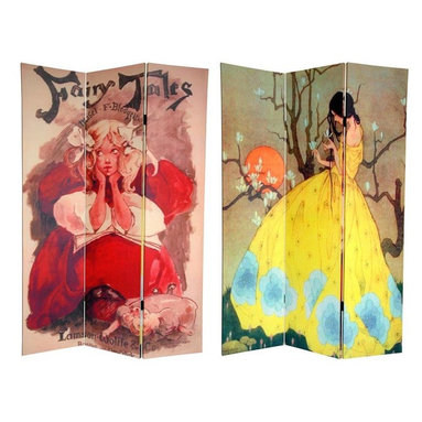 """Oriental Furniture - Double Sided Fairy Tale Canvas Room Divider, 6' Tall - Enchant your domicile with these captivating works of children's storybook art from the late 19th and early 20th centuries. On the front is an illustration by one of the most highly acclaimed book and poster artists of her time, Ethel Reed, for the cover of """"Fairy Tales"""" penned by Mabel Fuller Blodgett in 1896. On the back is a breathtaking reproduction of Spring's Promise by Marjorie Miller, which depicts a young lady in a yellow dress with an unearthly orange moon and flowering tree in the background. These enchanting works of art are perfect for any living room, bedroom, dining room, children's room or kitchen. This three panel screen has different images on each side, as shown."""