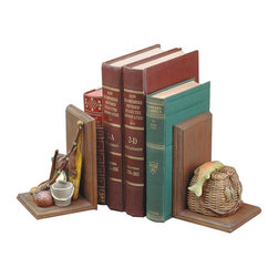 """Renovators Supply - Bookends Pair of Decorative Bookends - These bookends feature a creel compartment for paper clips and such. They measure 4"""" wide x 6-1/4"""" high."""