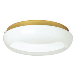 Progress - Progress Melon Flush Mount Ceiling Fixture in Polished Brass - Shown in picture: 2-light CFL flush mount featuring dome shaped glass with thick upper trim. Energy Star qualified.