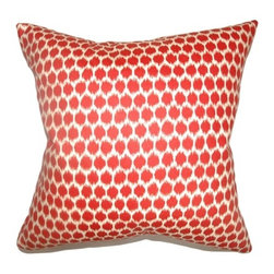 "The Pillow Collection - Daile Geometric Pillow Carribean 18"" x 18"" - Stylize your home furnishings with this refreshing geometric print throw pillow. The color of Carribean is represented in this square pillow. The shades of red and white makes this a perfect accent piece. This 18"" pillow is made from 100% cotton fabric. Mix and match this decor pillow with contemporary accent pieces. Hidden zipper closure for easy cover removal.  Knife edge finish on all four sides.  Reversible pillow with the same fabric on the back side.  Spot cleaning suggested."