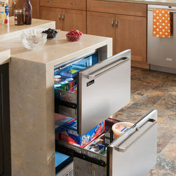 Perlick Refrigeration Drawers - Perlick's refrigerator and freezer drawers provide extra refrigeration and freezer space in a kitchen island, bar area, butler's pantry, or in a run of cabinetry.  Units come in a stainless steel finish or attach a custom wood panel.