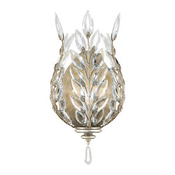 Fine Art Lamps - Crystal Laurel Silver Sconce, 759550ST - A crown of laurel signifies achievement and success. Show off your accomplishments with this sparkling sconce featuring leaves of faceted crystals and the shine of either silver or gold. Line a hallway, flank a doorway or add some soft lighting to your favorite room.