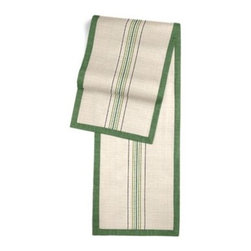 Green Feedsack-Style Cotton Stripe Custom Table Runner - Set a table for a king! or just your family and friends!! with our gorgeous Tailored Table Runner. Solid edging adds a touch of refinement, perfectly setting off the center fabric. We love it in this classic green and tan feedsack style stripe made in super soft woven cotton.  Bye bye scratchy burlap!