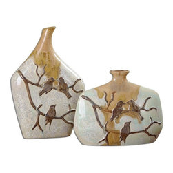 "Silver Nest - Autumn Chirp Vases- Set of 2- 14""h - Aged ivory ceramic with metallic bronze drip, blue green accents and gilded gold details. Sizes: Sm-11x9x3, Lg-9x14x3"