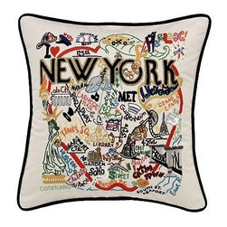 CATSTUDIO - New York City Pillow by Catstudio - Celebrate the states! These pillows from Catstudio's Geography Collection are delightful keepsakes for remembering the hometown you grew up in or commemorating your favorite vacation spot. Embroidered entirely by hand (over 35 hours go into each one!) with black velvet piping, these make the perfect gift for all occasions! Removable cotton cover and polyfill pillow form. Cover is dry clean only.
