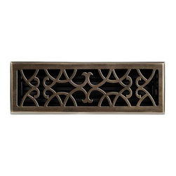 """Brass Elegans 120F AB Brass Decorative Floor Register Vent Cover - Victorian Scr - This antique brass finish solid brass floor register heat vent cover with a victorian scroll design fits 4"""" x 14"""" x 2"""" duct openings and adds the perfect accent to your home decor."""