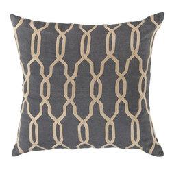 """Surya - Surya 18 x 18 Decorative Pillow, Mediterranean Blue and Parchment (COM001-1818P) - Surya COM001-1818P 18"""" x 18"""" Decorative Pillow, Mediterranean Blue and Parchment"""
