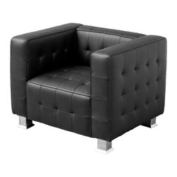 Great Deal Furniture - Decco Black Modern Club Chair - The Decco Modern Club Chair was designed for look and comfort. This modern lounge chair features lush, cushioned seating wrapped in luxurious, tufted bonded leather in corrected grain with elegant detail stitching. Arm rests and form-fitted seating add extra comfort while sturdy chrome legs ensure strength and stability. The Decco lounge seating is available in black and white colors to complement any modern décor.