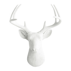 Wall Charmers - Wall Charmers Deer in White | Fake Taxidermy Head Faux Resin Bust Antler Decor - WALL CHARMERS FAUX TAXIDERMY DEER HEAD
