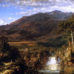 "Frederic Edwin Church The Heart of the Andes - 14"" x 28"" Premium Archival Print - 14"" x 28"" Frederic Edwin Church The Heart of the Andes premium archival print reproduced to meet museum quality standards. Our museum quality archival prints are produced using high-precision print technology for a more accurate reproduction printed on high quality, heavyweight matte presentation paper with fade-resistant, archival inks. Our progressive business model allows us to offer works of art to you at the best wholesale pricing, significantly less than art gallery prices, affordable to all. This line of artwork is produced with extra white border space (if you choose to have it framed, for your framer to work with to frame properly or utilize a larger mat and/or frame).  We present a comprehensive collection of exceptional art reproductions byFrederic Edwin Church."