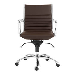 Eurostyle - Dirk Low Back Office Chair-Brown/Chrome - Leatherette over foam seat and back