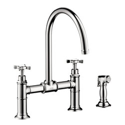 Hansgrohe - Hansgrohe Axor Montreux Bridge Kitchen Faucet with Sidespray, Chrome (16808001) - Hansgrohe 16808001 Axor Montreux Bridge Kitchen Faucet with Sidespray, Chrome